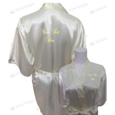 Personalised Ivory Bridesmaid Robe - Bridal Party Robe from  -  Bridal Delights