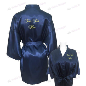 Personalised Navy Blue Bridesmaid Robe - Bridal Party Robe from  -  Bridal Delights