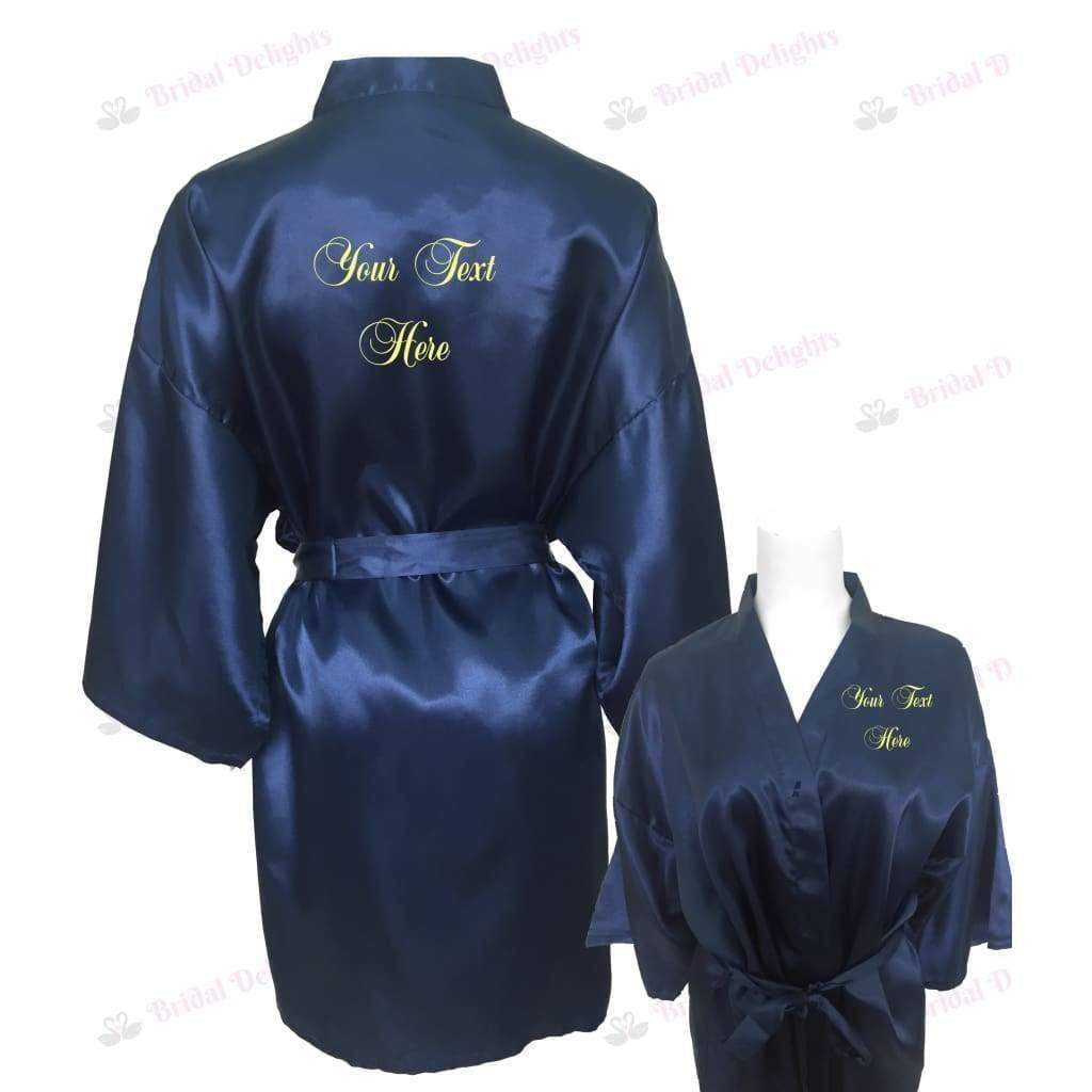 Personalised Navy Blue Bridesmaid Robe - Bridal Party Robe from