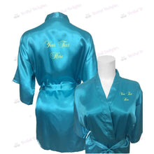 Load image into Gallery viewer, Personalised Turquoise Bridesmaid Robe - Bridal Party Robe from