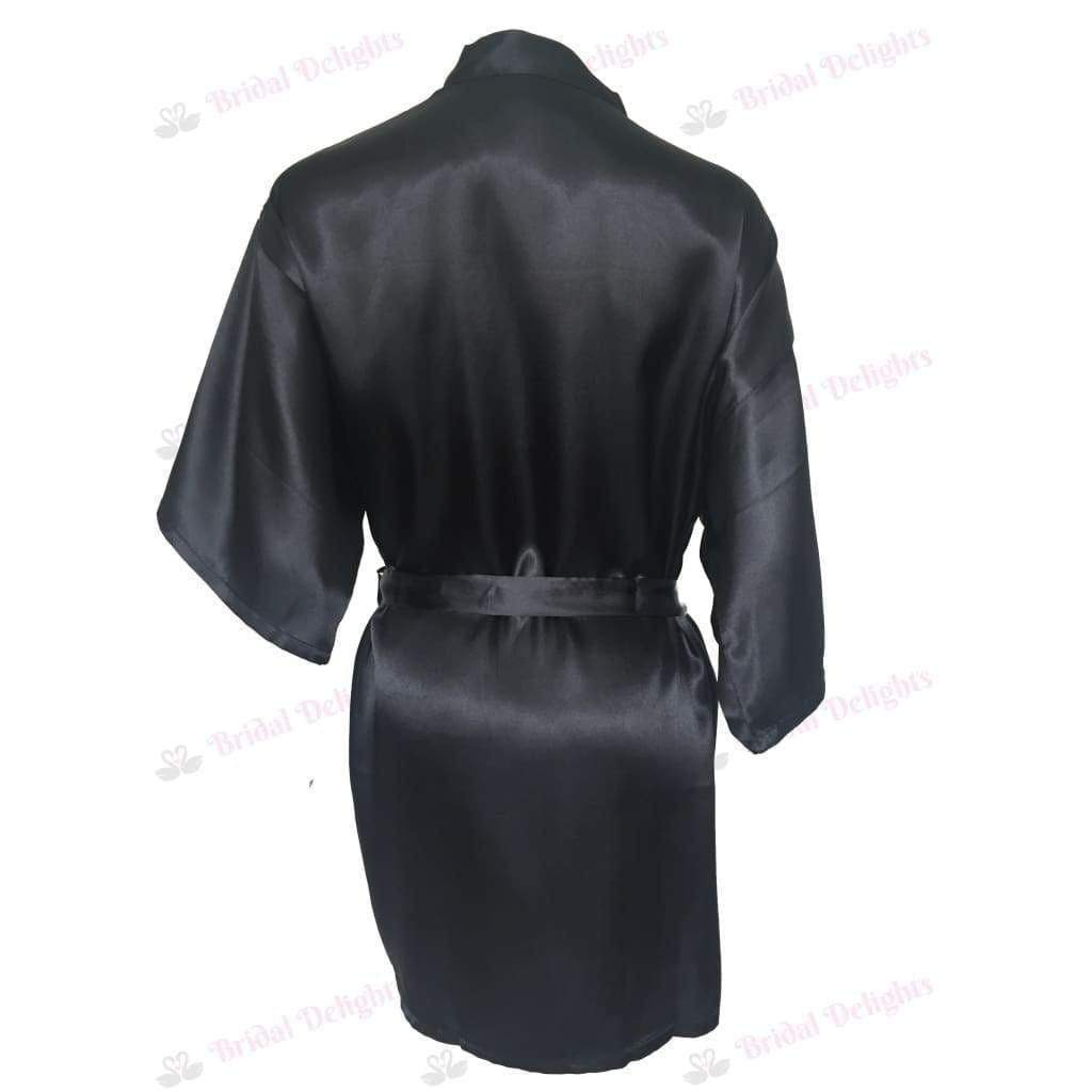 Plain Black Bridesmaid Robe - Satin Bridal Party Robe  -  Bridal Delights