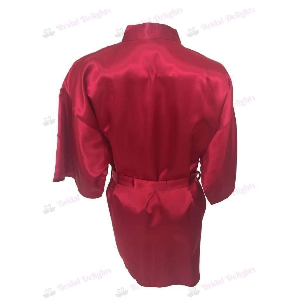 Plain Burgundy Bridesmaid Robe - Satin Bridal Party Robe  -  Bridal Delights