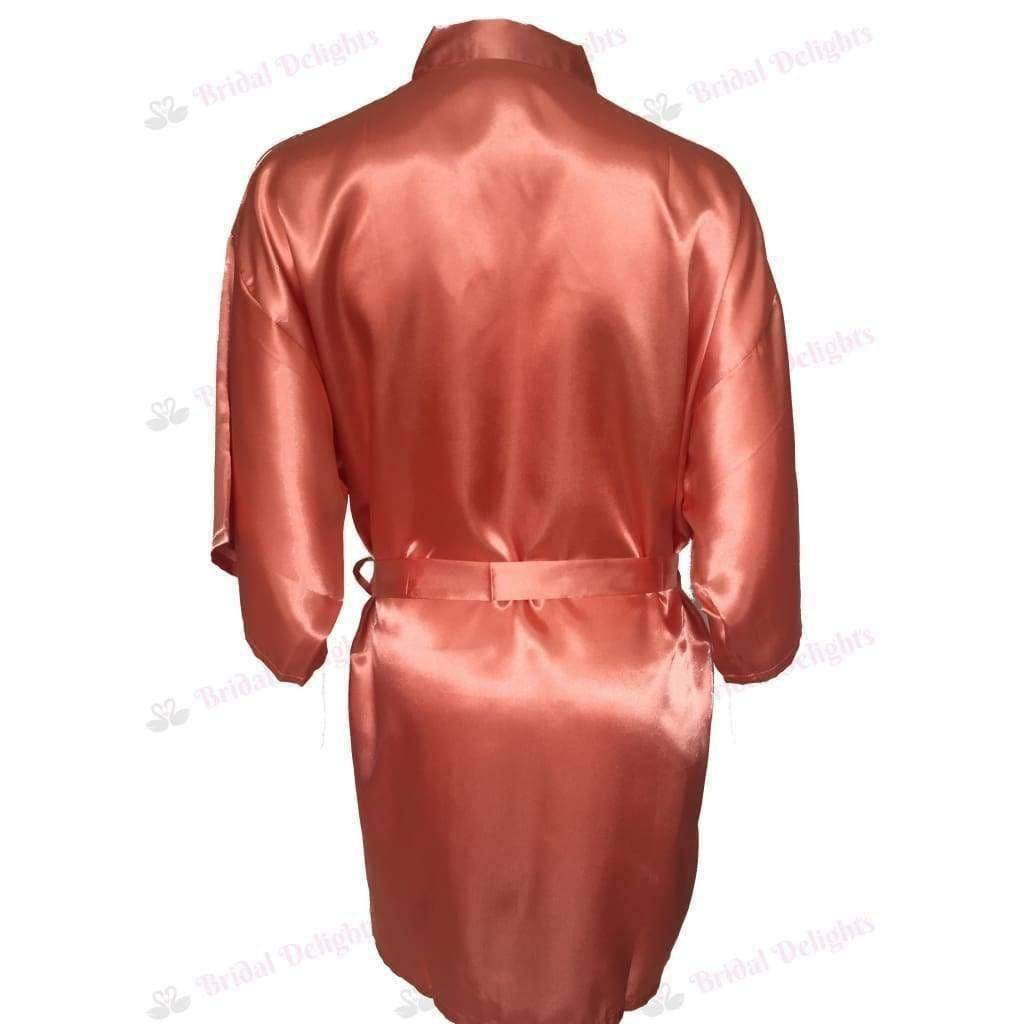 Plain Coral Bridesmaid Robe - Satin Bridal Party Robe