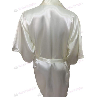 Plain Ivory Bridesmaid Robe - Satin Bridal Party Robe  -  Bridal Delights