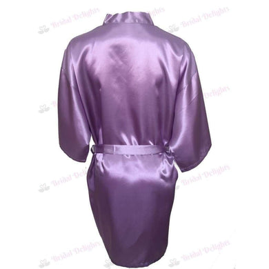 Plain Lilac Bridesmaid Robe - Satin Bridal Party Robe  -  Bridal Delights