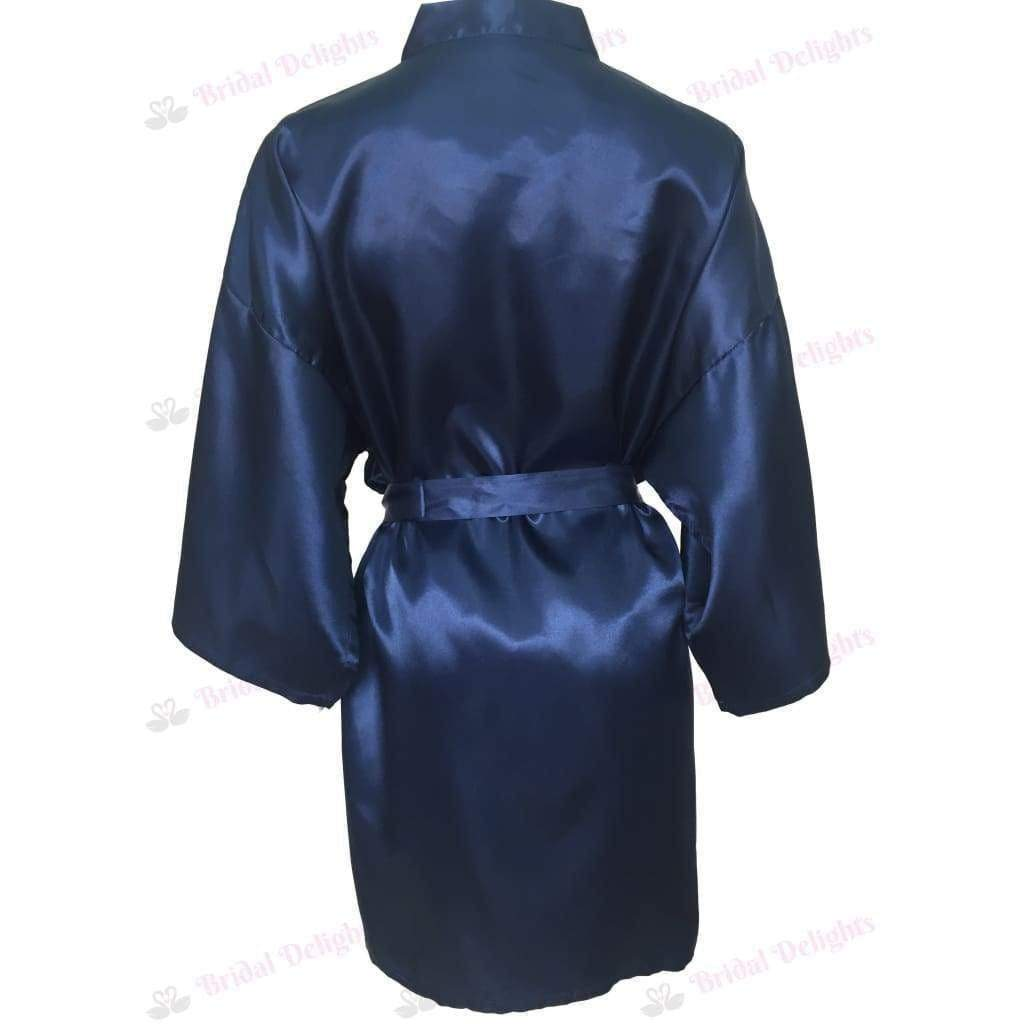 Plain Navy Blue Bridesmaid Robe - Satin Bridal Party Robe  -  Bridal Delights