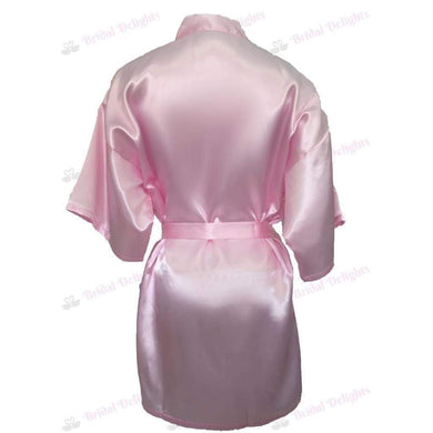 Plain Pink Bridesmaid Robe - Satin Bridal Party Robe  -  Bridal Delights
