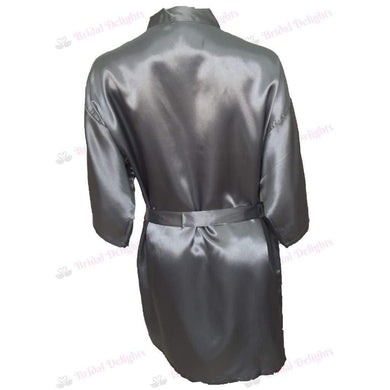 Plain Silver Bridesmaid Robe - Satin Bridal Party Robe  -  Bridal Delights