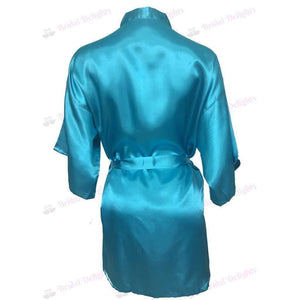 Plain Turquoise Bridesmaid Robe - Satin Bridal Party Robe  -  Bridal Delights