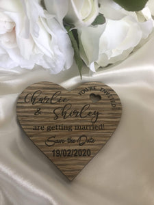 Wooden Heart Save the Date Magnets | Bridal Delights