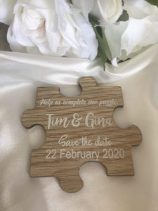 Save the date magnet - Puzzle piece  -  Bridal Delights