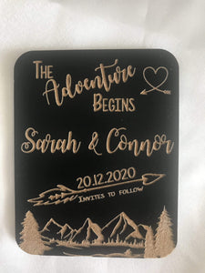 Save the date magnet - The Adventure Begins  -  Bridal Delights