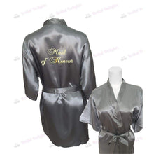 Load image into Gallery viewer, Silver Bridesmaid Robe - Maid of Honour from