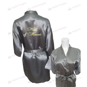 Silver Bridesmaid Robe - Maid of Honour from  -  Bridal Delights