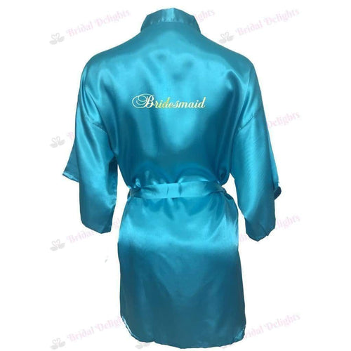 Turquoise Bridesmaid Robe - Bridal Party Robe from  -  Bridal Delights