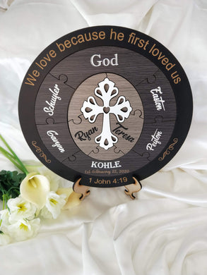 Wedding Ceremony Puzzle - Christian puzzle with 6 names (dark theme)  -  Bridal Delights