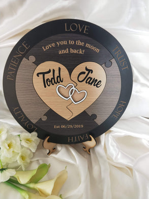Wedding Ceremony Puzzle - Hearts with 2 names  -  Bridal Delights