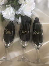 Load image into Gallery viewer, Wedding Favour / Name Place Setting- Personalised Campagne Flutes Short  -  Bridal Delights