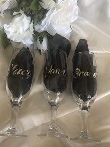 Wedding Favour / Name Place Setting- Personalised Campagne Flutes Short  -  Bridal Delights