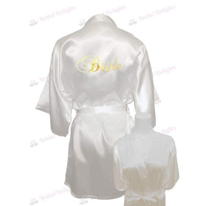 White Satin Bride's Robe - Personalised back or front & back from  -  Bridal Delights