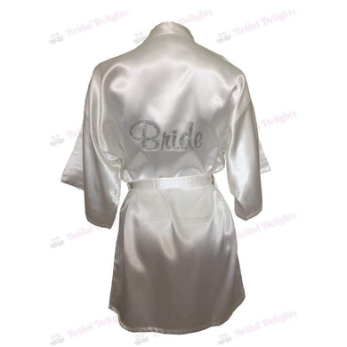 White Satin Bride's Robe - Rhinestoned back from