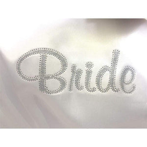 White Satin Bride's Robe - Rhinestoned back from  -  Bridal Delights