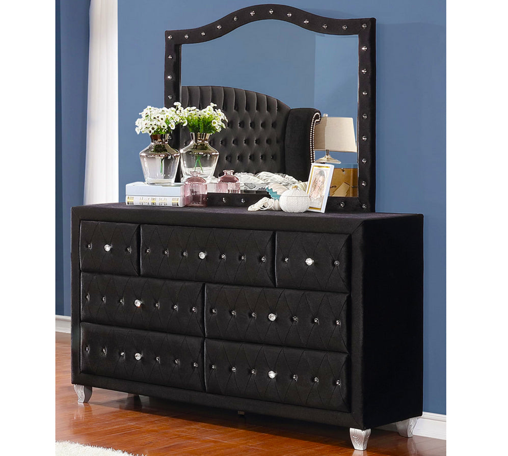 Deanna Contemporary Black and Metallic Dresser Model # 206103