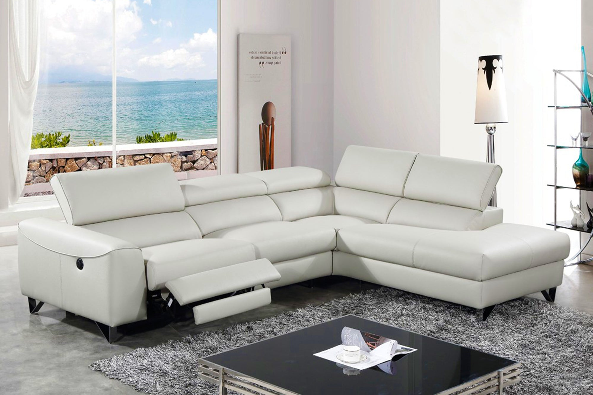Modern 1874696 Light Grey Eco-Leather Sectional w/ Recliner by Venini