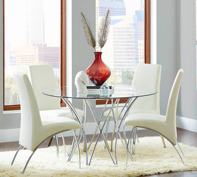 Dining Chairs White and Chrome