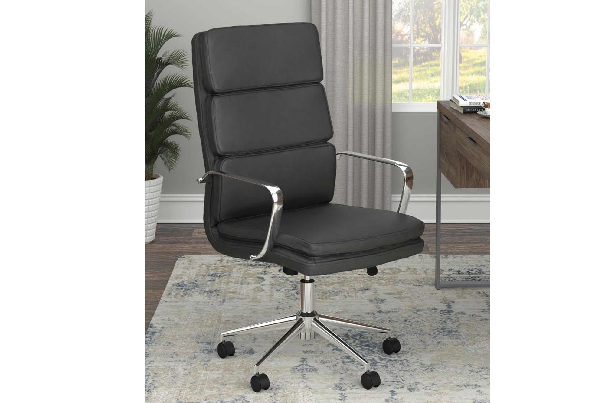 High Back Upholstered Office Chair Black 18801744