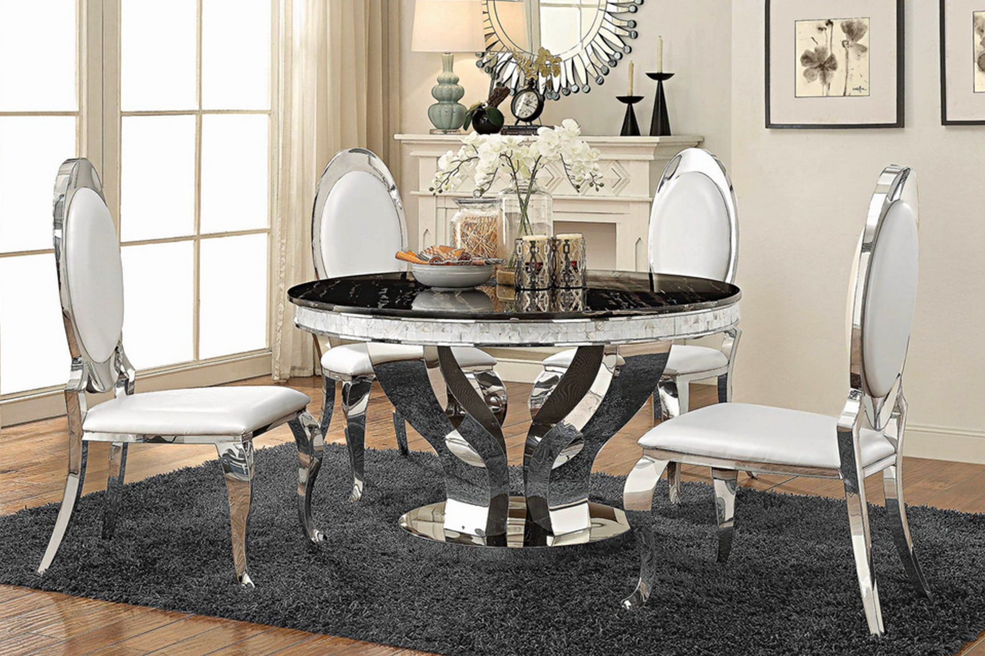 Anchorage Hollywood Glam Silver 5 pcs Dining Set # 18107891