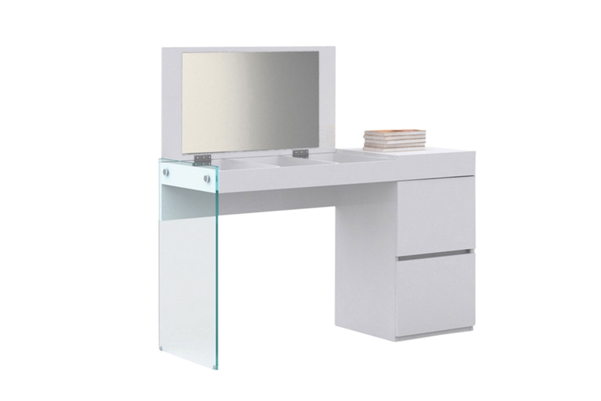 Vanity in high gloss white lacquer and mirror #18111