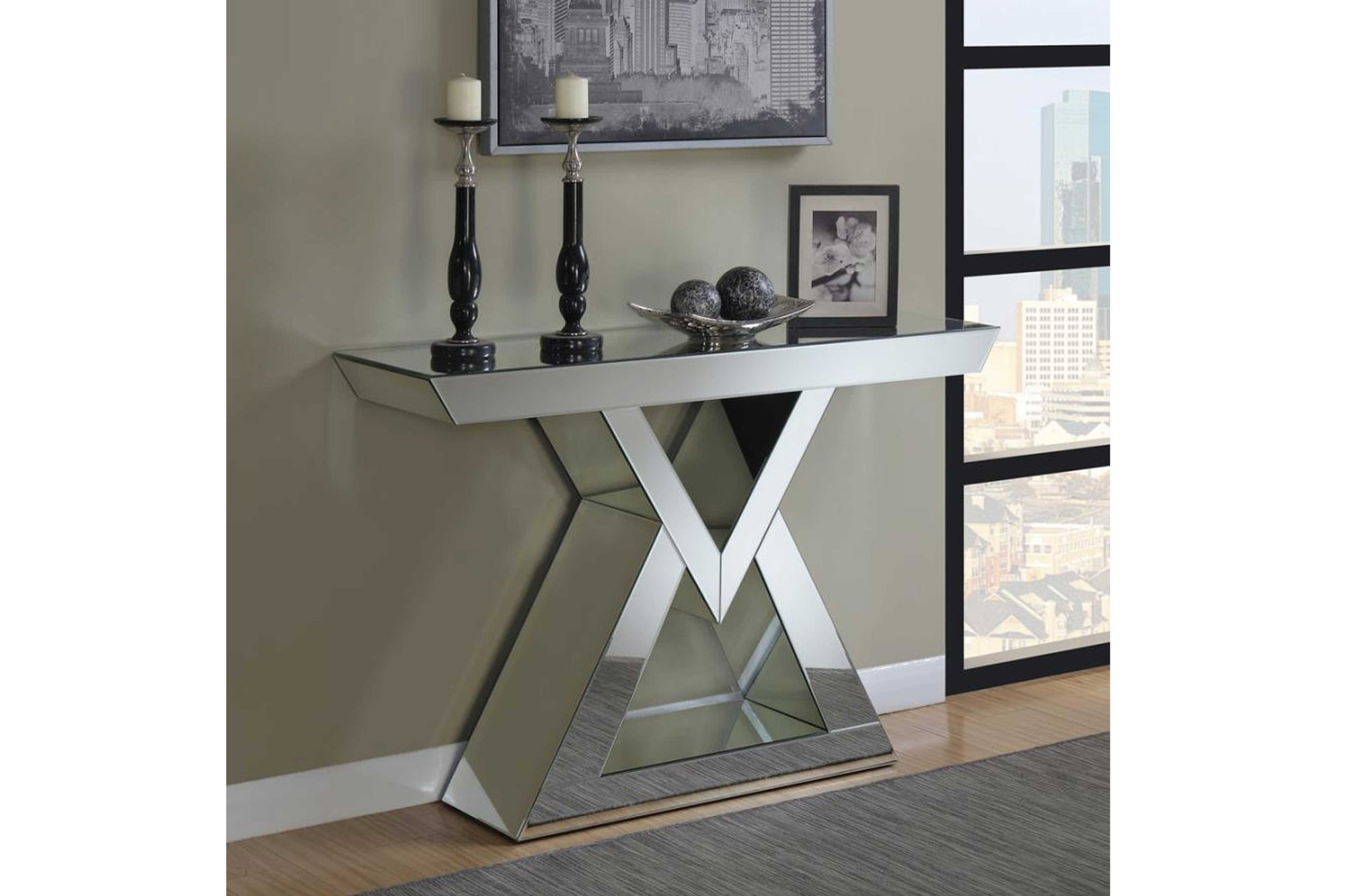 Contemporary Mirrored Console Table Model #18930009