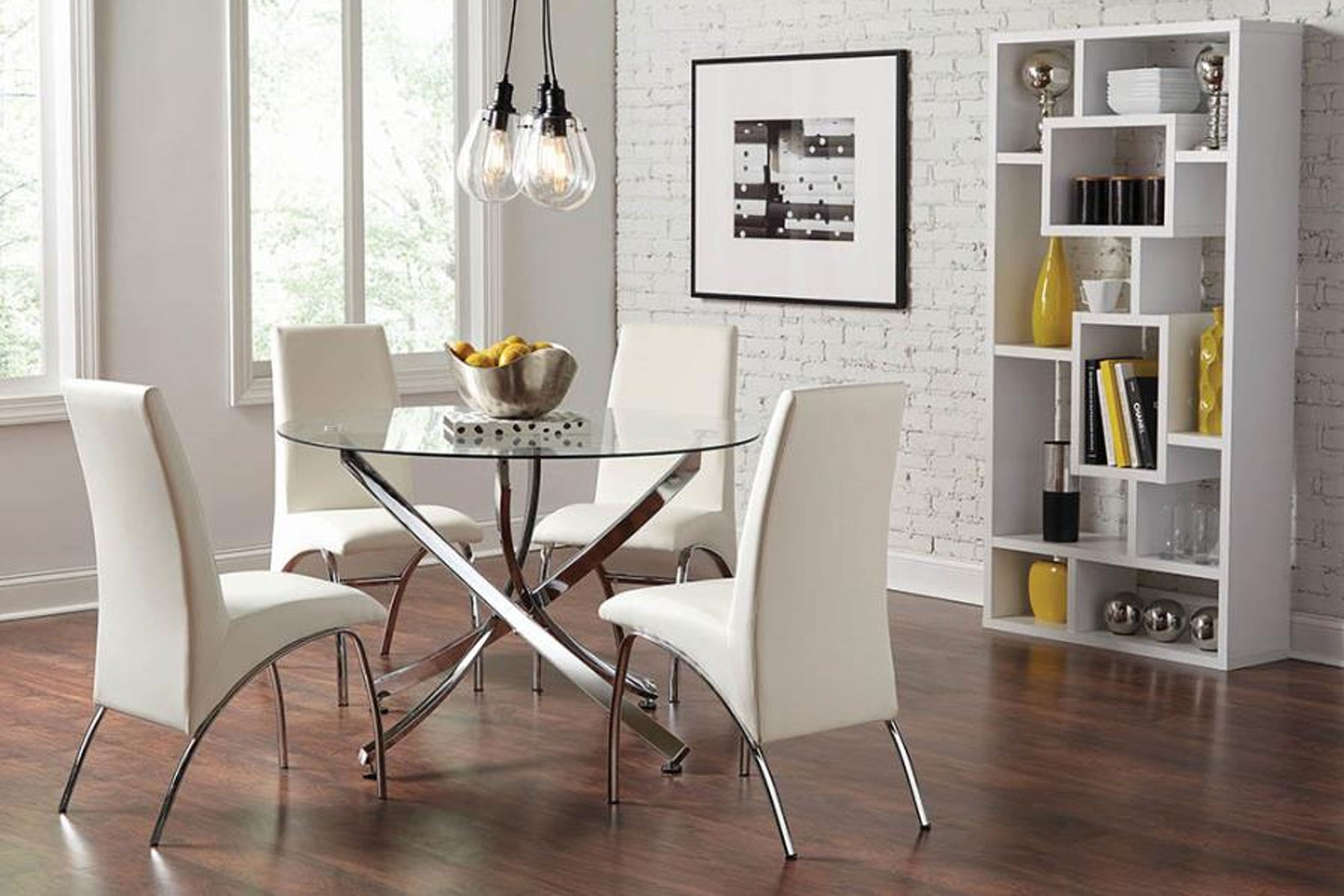 Contemporary Chrome 5 Pic Dining Table Set