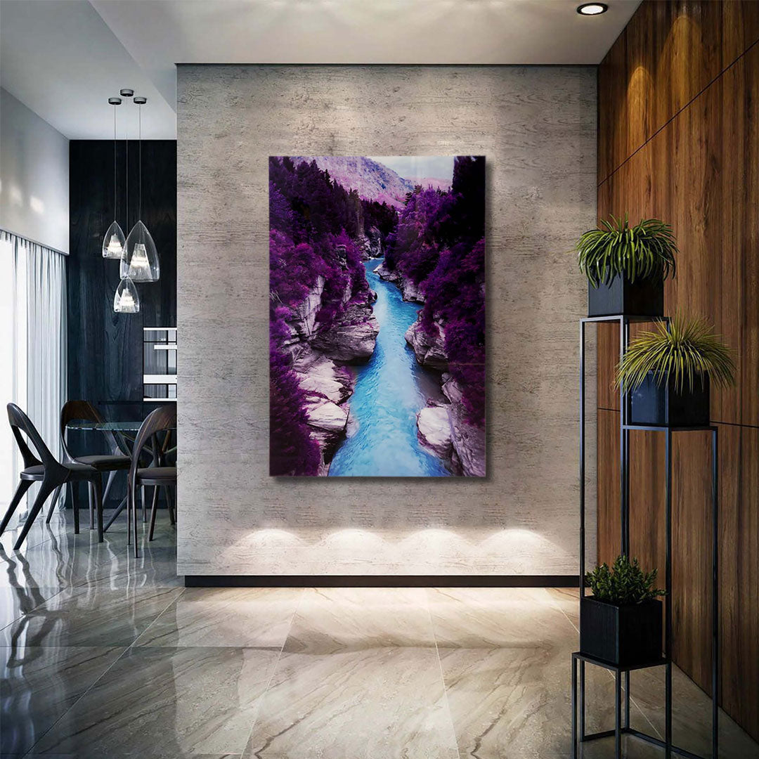 PURPLE GUADALUPE RIVER TEMPERED GLASS ART