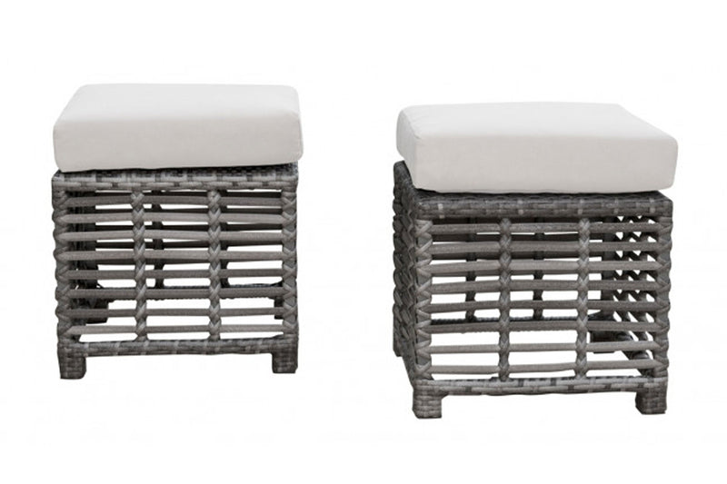 Graphite Set of 2 Small Ottoman w/off-white cushions PJO-1601-GRY-S2