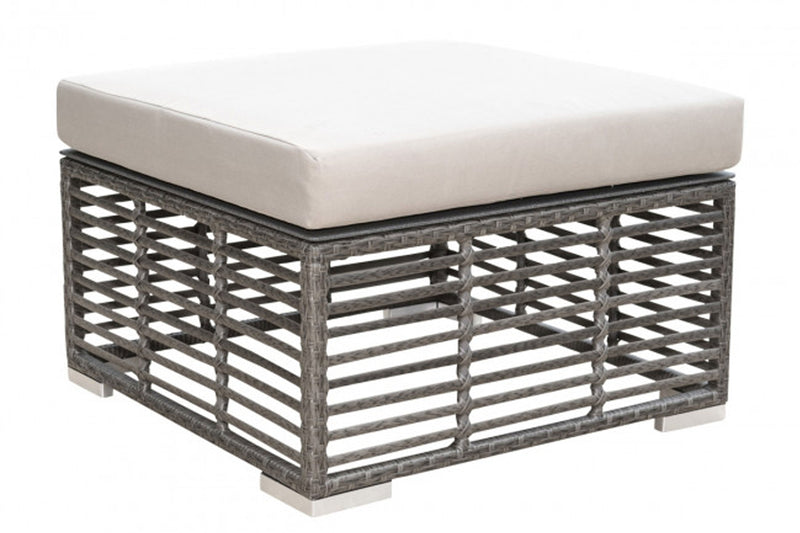 Graphite Square Ottoman w/off-white cushion PJO-1601-GRY-OT