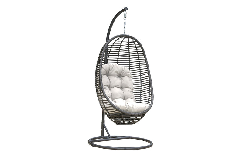 Graphite Woven Hanging Chair with off-white cushion PJO-1601-GRY-HC