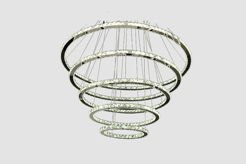 Modern ceiling lamp, glass and iron, with 5 adaptables rings Model # 18MI-3010-5