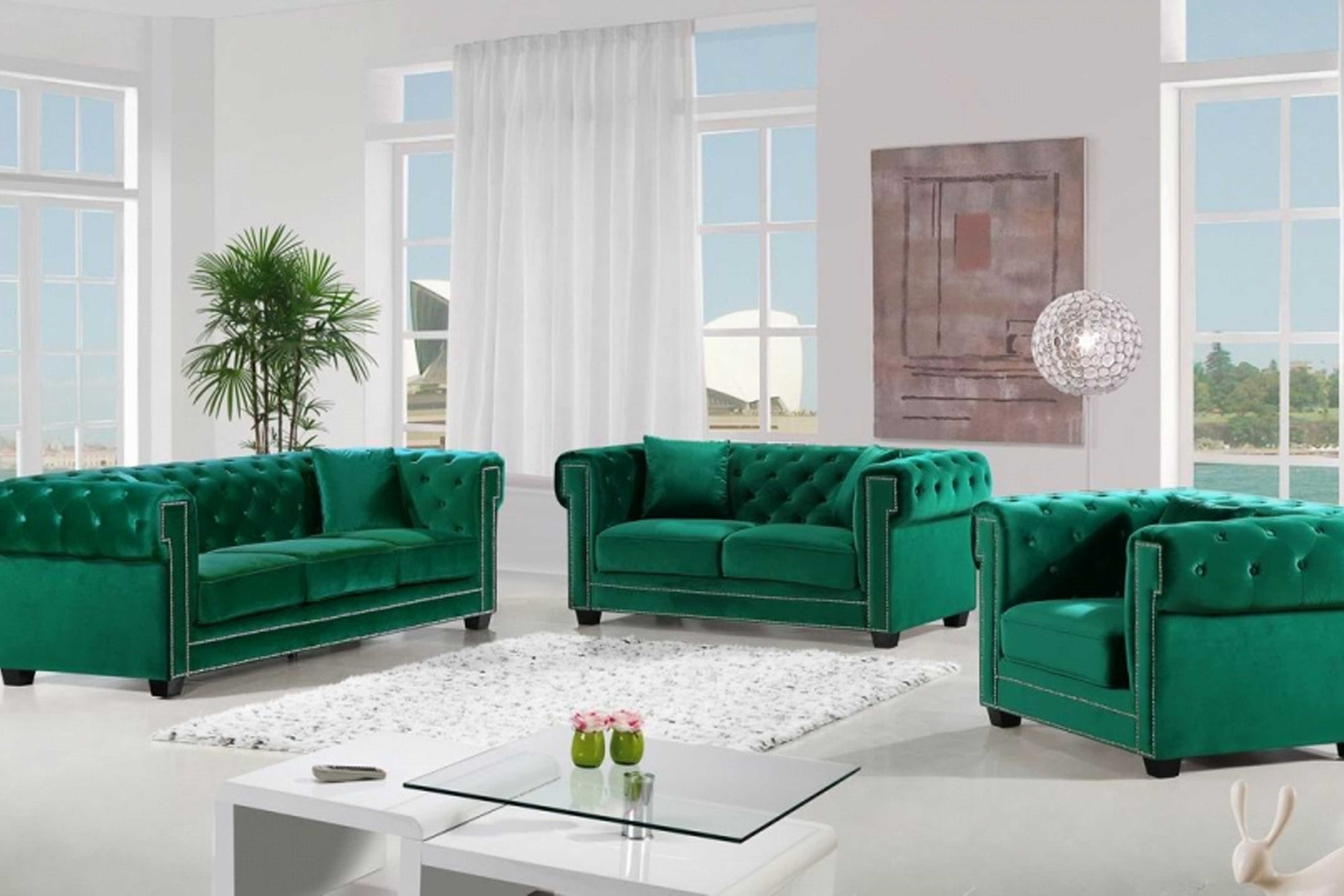 Cassiano Velvet 5 pc Sofa Set #18614