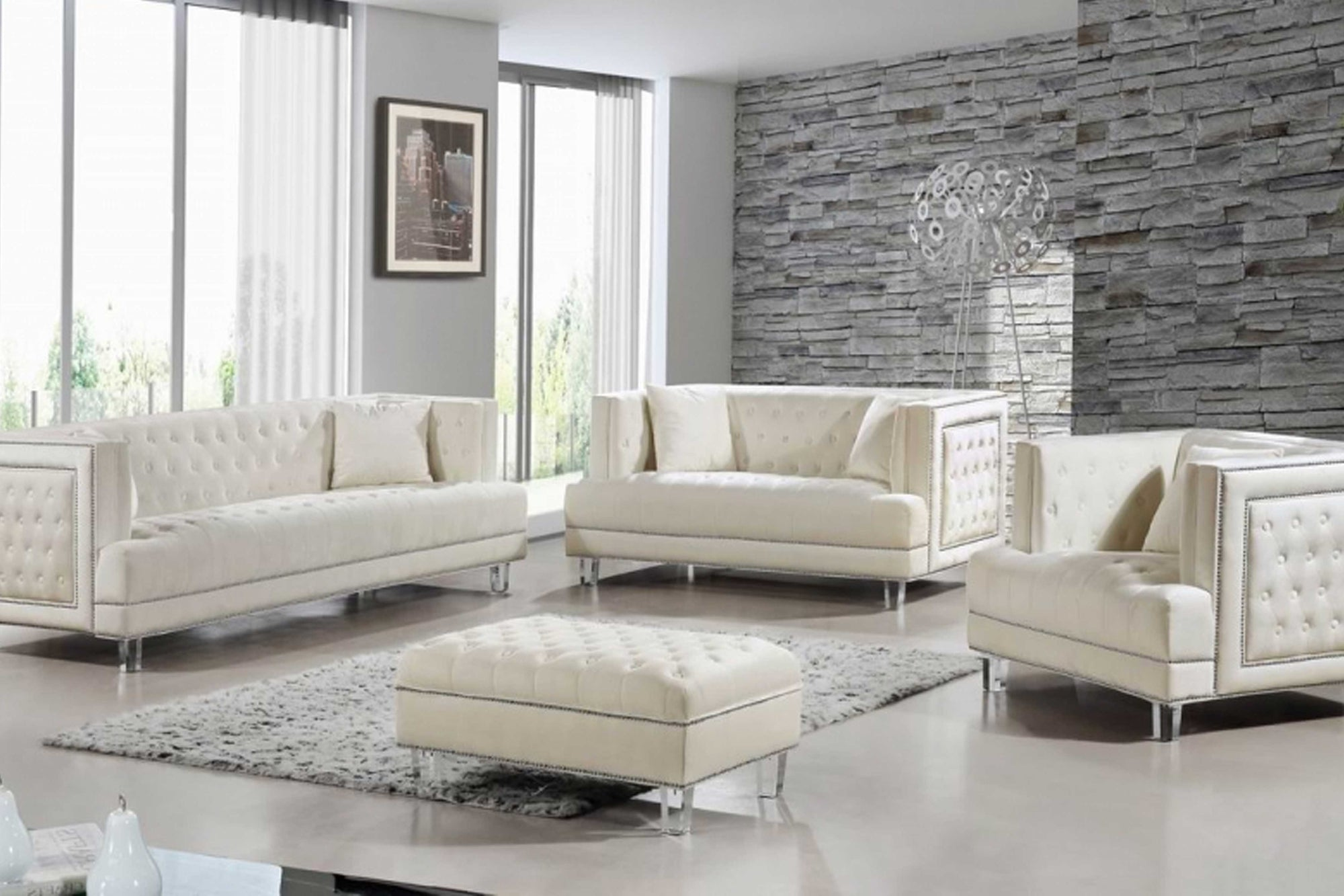 Lucca Velvet 4 pc Sofa Set #18609