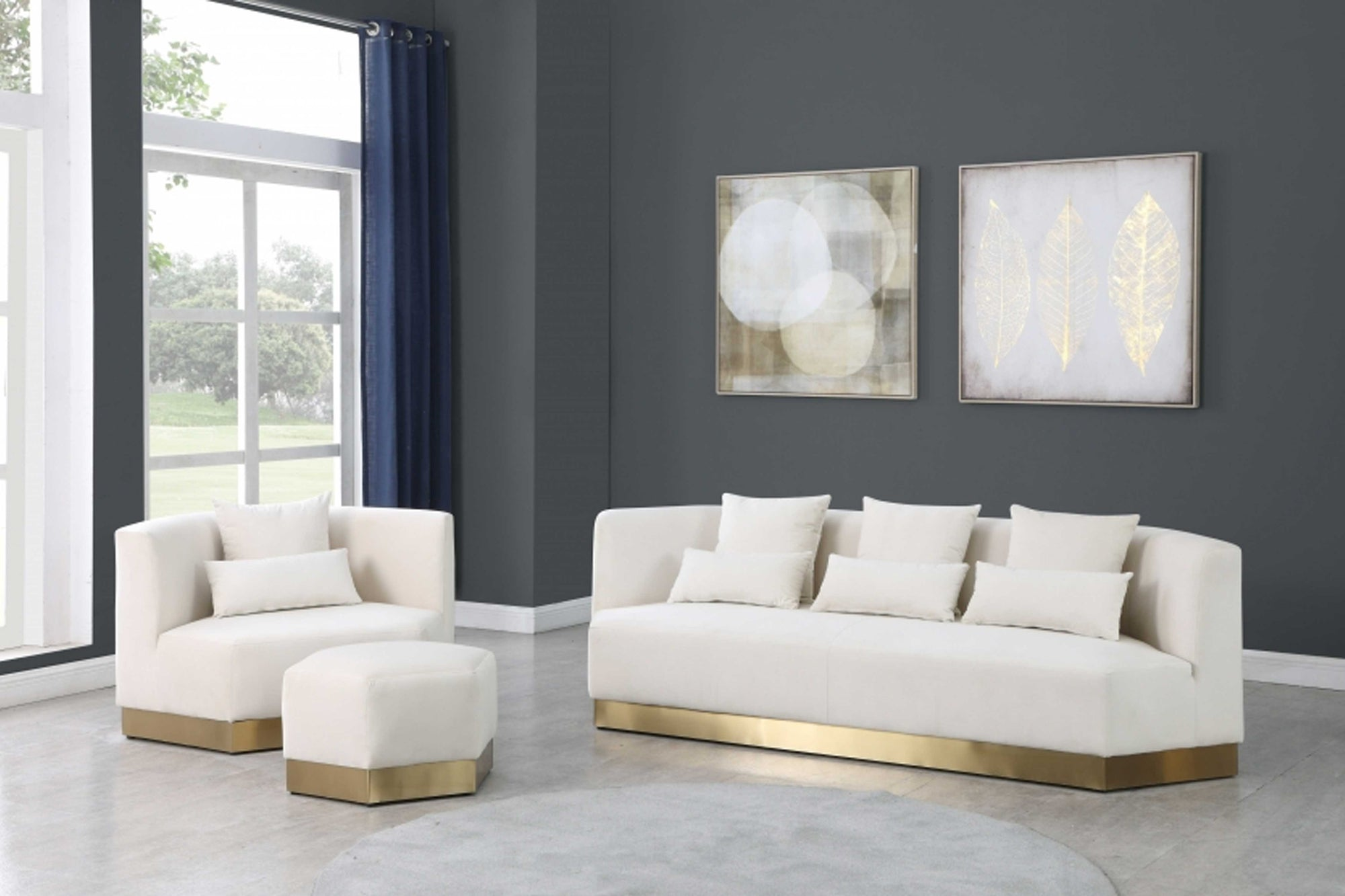 Leslie Soft Velvet 3 pc Sofa Set #18600-S3