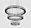 Modern LED lamp, glass and iron, ceiling lamp, with 3 adaptable rings Model # 18MI-7016