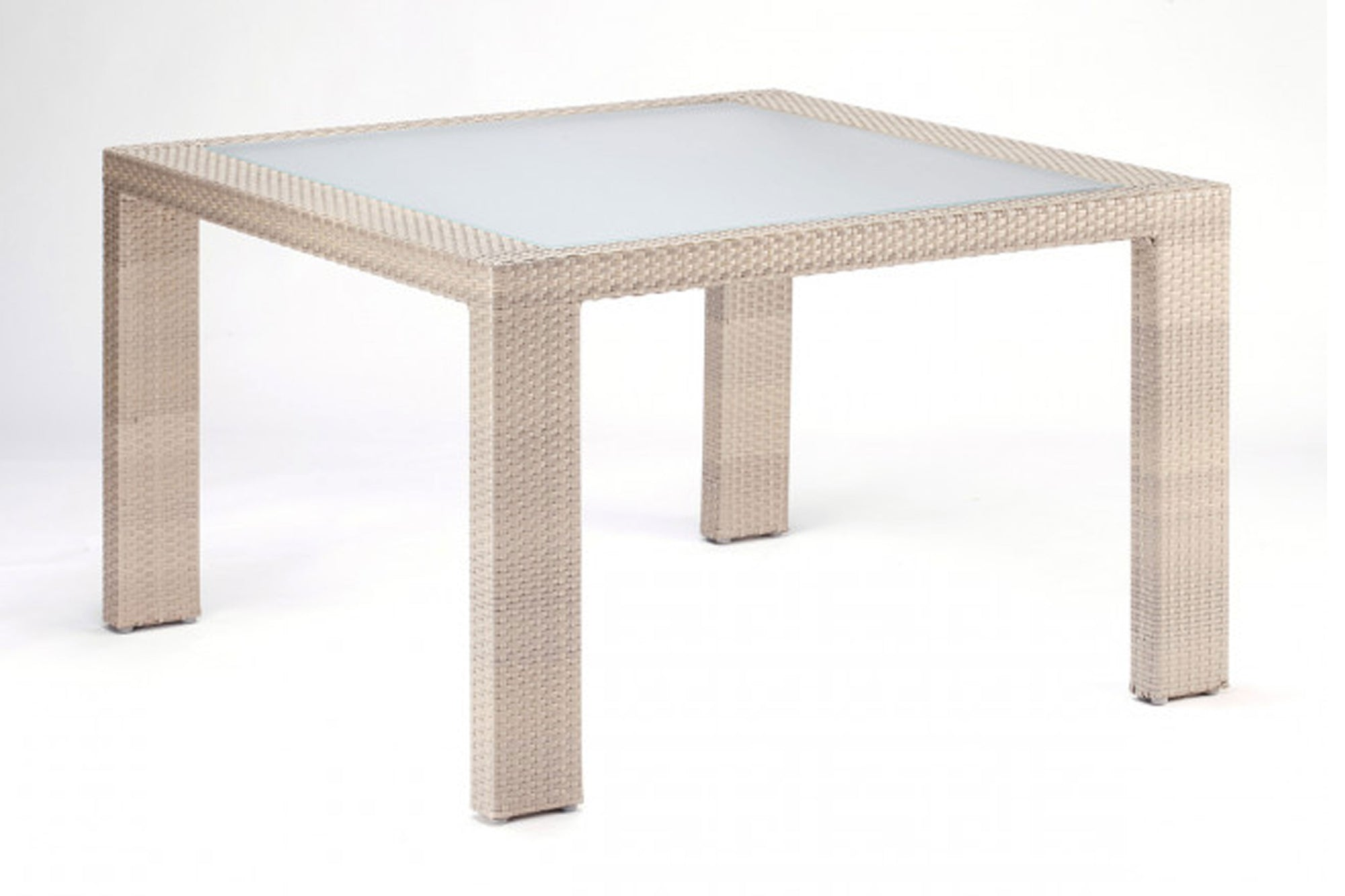 Cubix Square Woven Dining Table w/glass