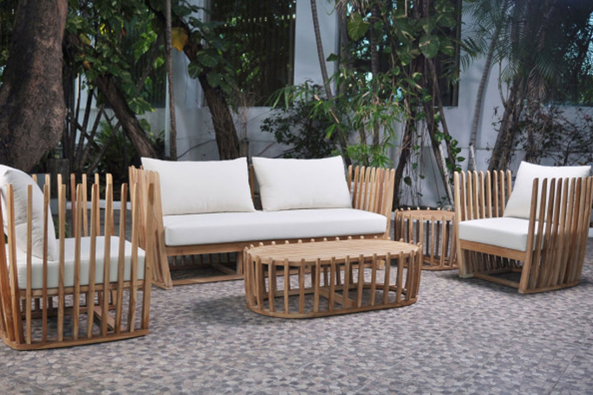 Throne Teak 5 PC Seating Set w/off-white cushions