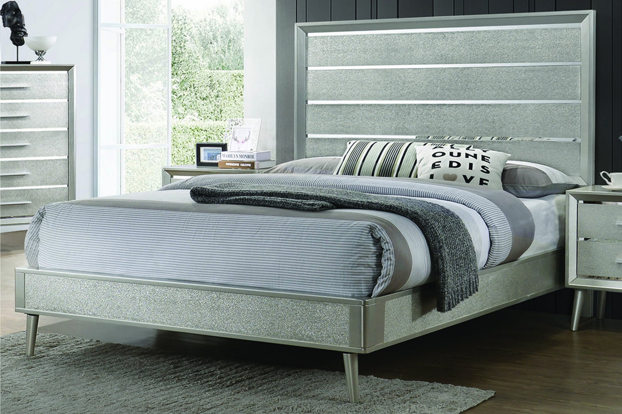 Ramon Queen Panel Bed Metallic Sterling