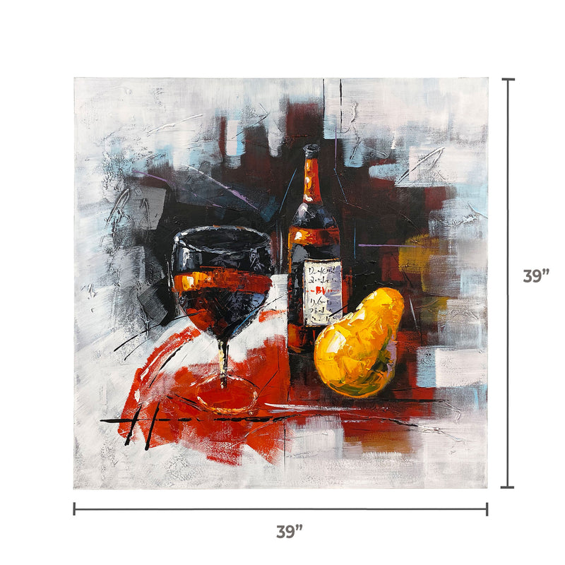 "Handmade Oleo Painting, ""Glass and Bottle"" Multicolor. #1816193"