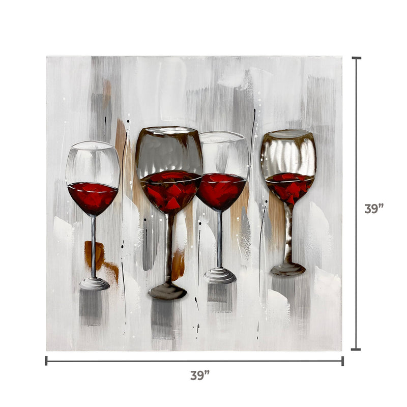 "Handmade Oleo Aluminum Painting, ""Wine glasses"" Red and white colors. #1816851"
