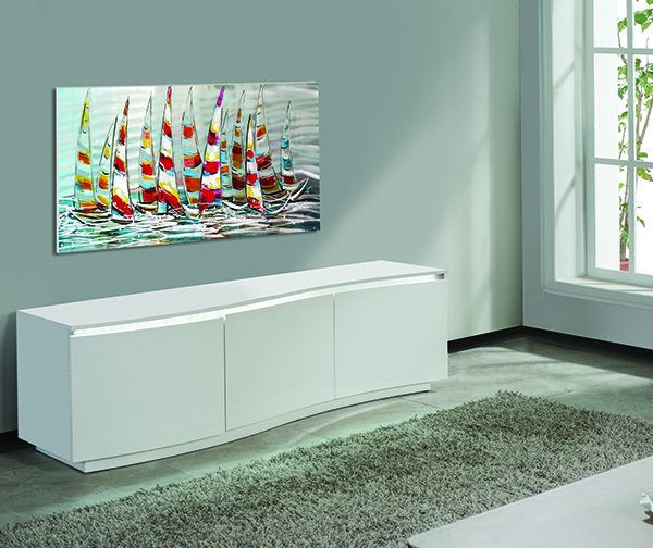 WHITE LACQUER TV STAND WITH LED LIGHT MODEL # FA-1014