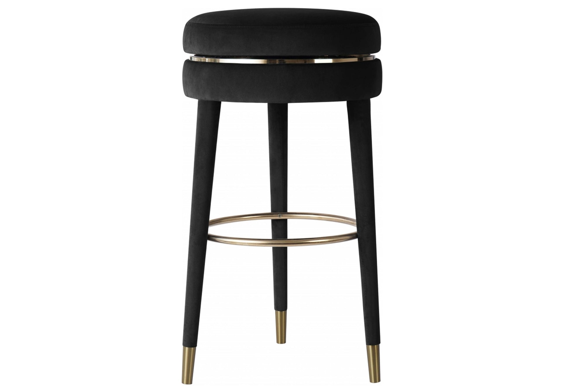 Claude Velvet Swivel Counter Stool - 701Black-C